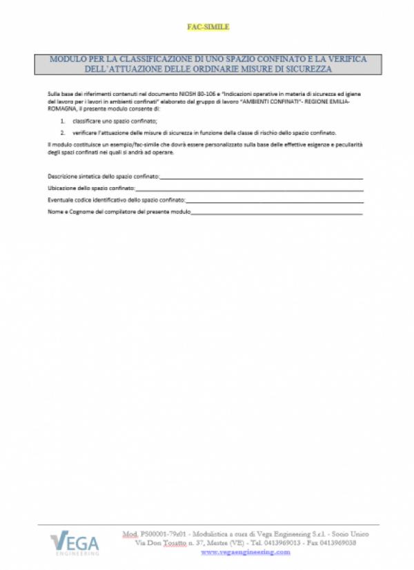 Criteri per la Classificazione di uno Spazio Confinato e la Verifica dell'attuazione delle ordinarie Misure di Sicurezza (NIOSH 80-106)