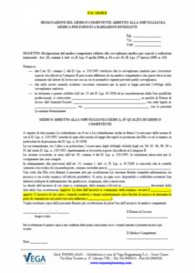 Lettera di incarico medico autorizzato addetto alla sorveglianza sanitaria per esposti a radiazioni ionizzanti