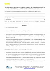 Dichiarazione attestante assolvimento degli obblighi del Committente nei cantieri edili