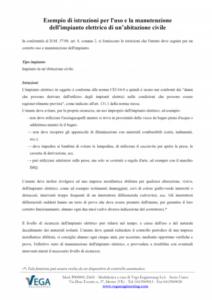 D.M. 37/08: Esempio di istruzioni per l'uso e la manutenzione dell'impianto elettrico di un'abitazione