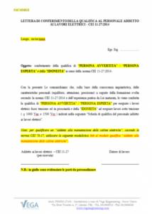 Lettera di conferimento della Qualifica al Personale Addetto ai Lavori Elettrici - CEI 11-27