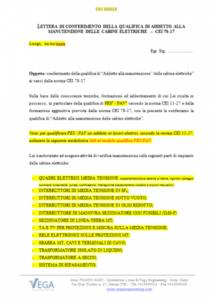 Fac-Simile Modulo per la Qualifica degli Addetti alla Manutenzione delle Cabine Elettriche