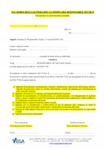 D.M. 37/08: Fac-simile della lettera per la nomina del Responsabile Tecnico