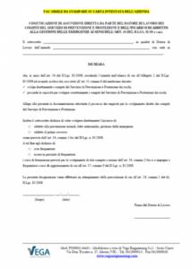 Comunicazione Assunzione Incarico da parte del Datore di Lavoro dei Compiti di SPP e Gestione Emergenze