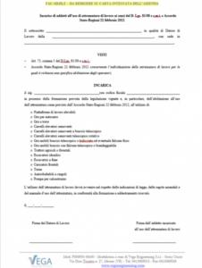 Modulo incarico addetti all'uso di Attrezzature di Lavoro ai sensi del D. Lgs. 81/08 e Accordo Stato Regioni 22/02/12
