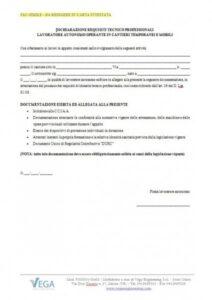 Dichiarazione Requisiti Tecnico Professionali Lavoratore Autonomo operante nei Cantieri Temporanei e Mobili