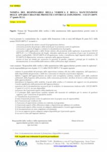 Nomina del Responsabile della verifica e della manutenzione delle apparecchiature ATEX protette contro le esplosioni – CEI EN 60079-17