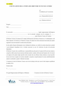 Comunicazione della nomina del Direttore Tecnico di cantiere