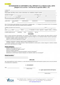 D.M. 37/08: Fac-Simile di Dichiarazione di Conformità per imprese non abilitate all'installazione di impianti