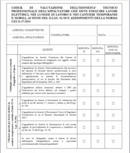 Norma CEI 11-27: Check List Idoneità Appaltatore (ad uso del Committente)