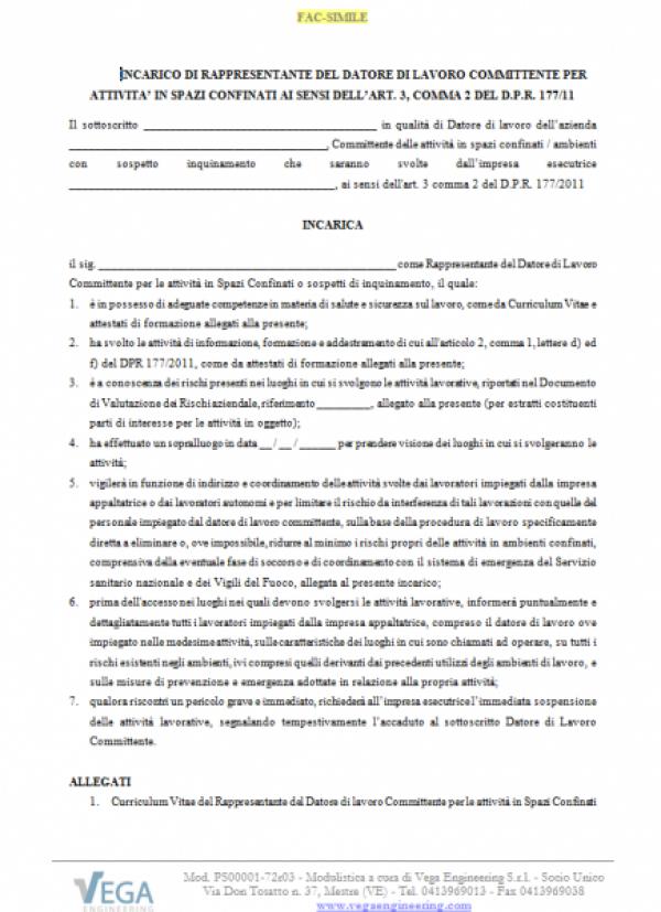 Modulo incarico del Rappresentante Committente per Attività in Spazi Confinati