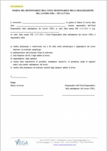 Lettera di incarico dell'Unità Responsabile della realizzazione del Lavoro (URL) - CEI 11-27