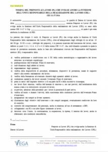 Lettera di Nomina del Preposto al Lavoro (PL) coincidente con URL (Unità Responsabile della Realizzazione del Lavoro) - CEI 11-27