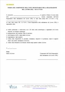 Lettera di Incarico del componente dell'Unità Responsabile della Realizzazione del Lavoro (URL) - CEI 11-27