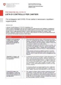 COVID-19: Check list di controllo cantieri SUVA