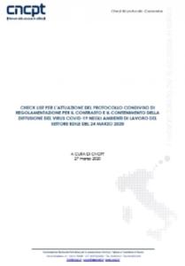 CNCPT: Check list misure anticontagio COVID-19 per il settore edile