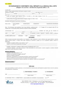 D.M. 37/08: Fac-Simile di Dichiarazione di Conformità per imprese installatrici