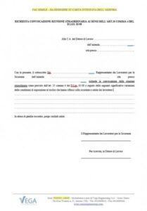 Richiesta convocazione riunione straordinaria ai sensi dell'art.35 comma 4 del D.lgs. 81/08