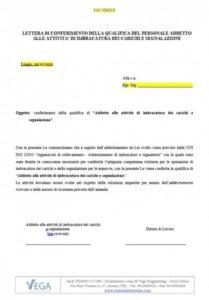 Lettera di conferimento della qualifica del personale addetto alle attività di imbracatura dei carichi e di segnalazione