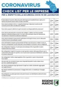 COVID-19: Check list di Controllo a cura della Regione Marche